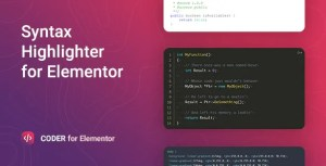Read more about the article Coder 1.0.9 – Syntax Highlighter for Elementor