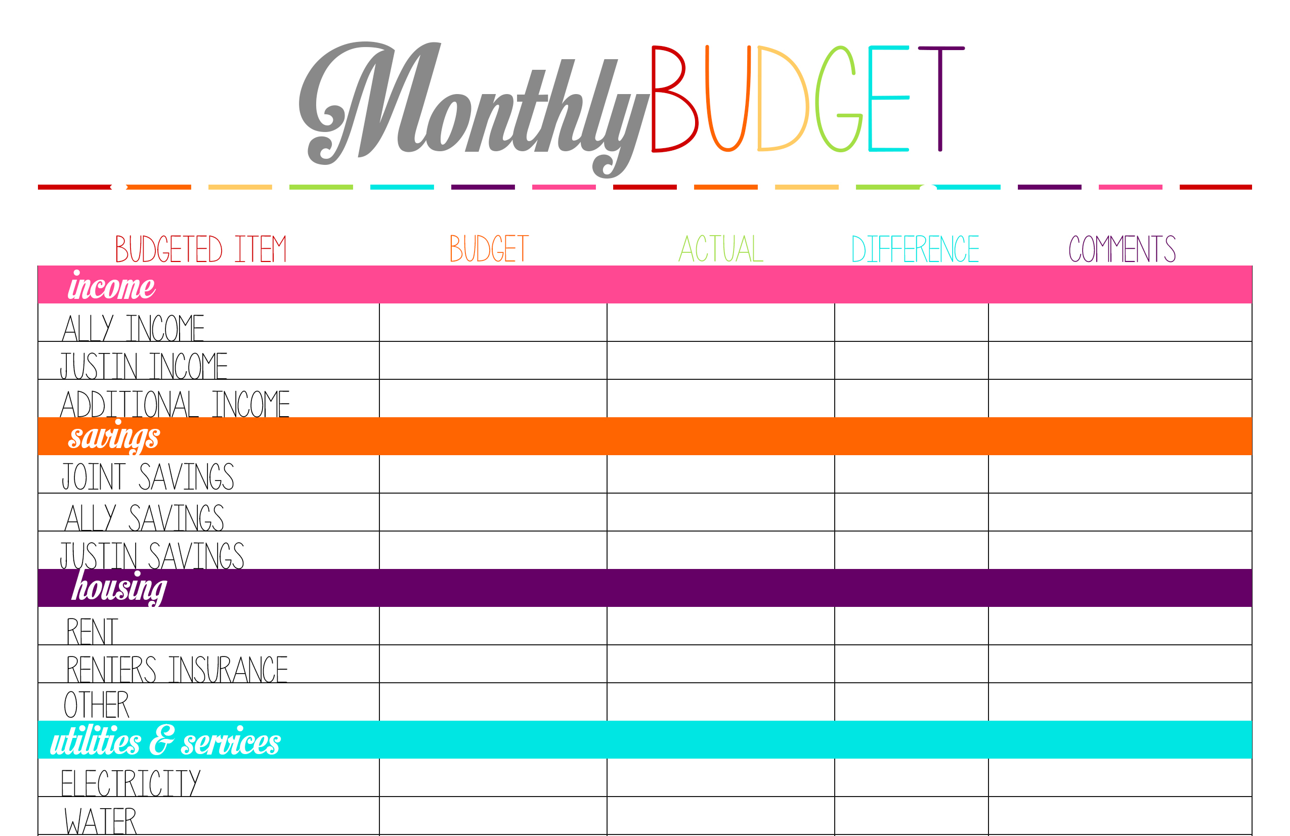 Free Budget Sheet Template. printable tuesday planning worksheets ...