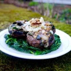 Spinach Cheese Walnut Stuffed Mushrooms with a Maple Balsamic Reduction