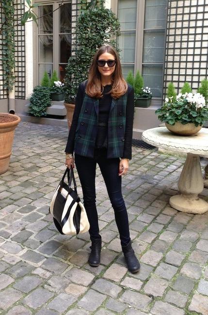 Olivia Palermo in Tibi Plaid Blazer