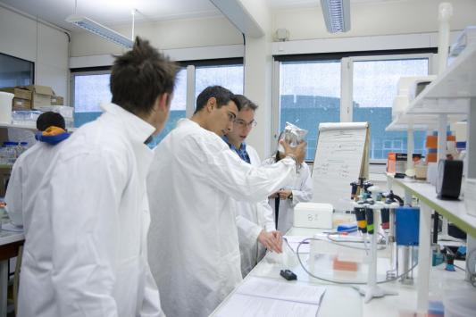Illustration of students in a research lab