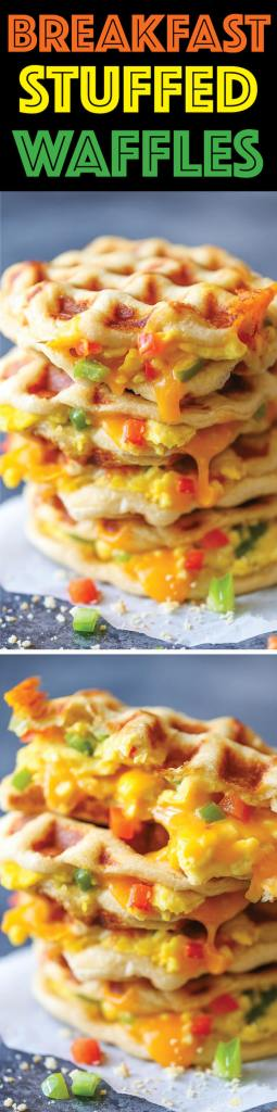Damn Delicious' Breakfast Stuffed Waffles