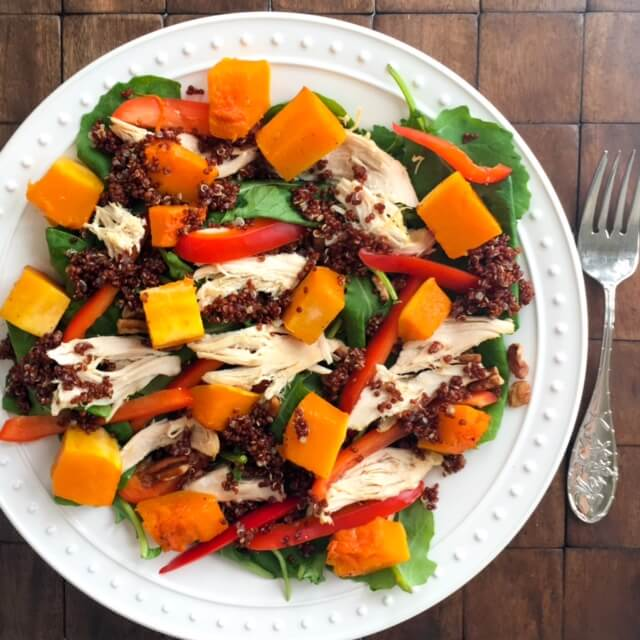Baby Kale, Butternut Squash, Chicken and Quinoa Salad