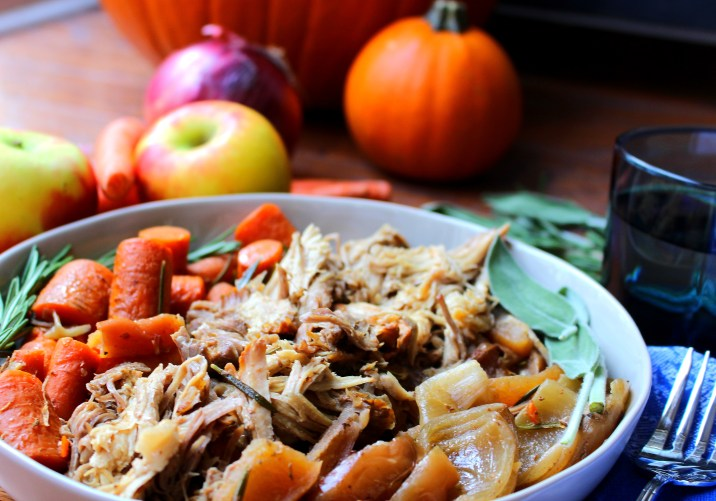 Autumn Crockpot Pork Roast with Apples and Onions