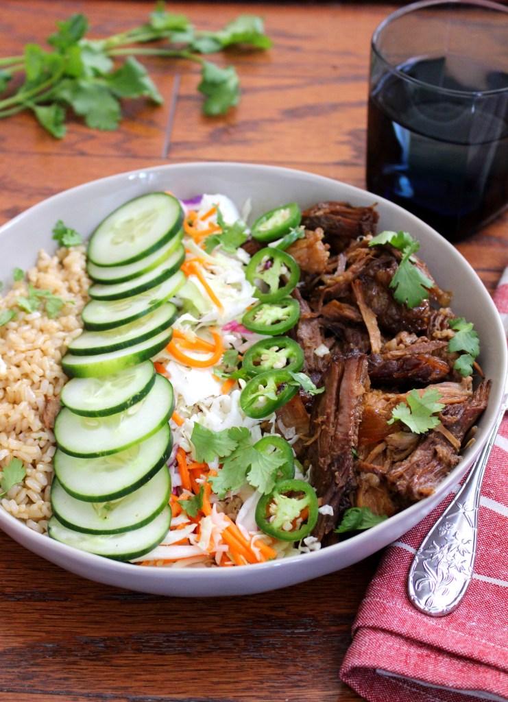 Crockpot Banh Mi Brown Rice Bowls with Asian Slaw