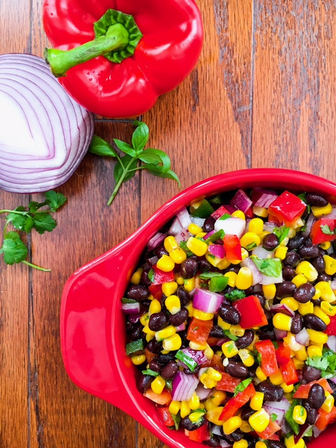 Quick and Easy Black Bean, Corn, and Pepper Salad