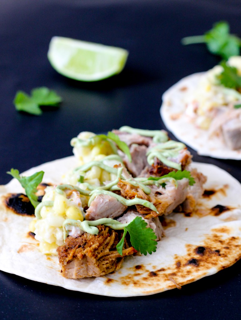 Pork Carnitas Tacos with Jalapeño Corn Salsa and Avocado Crema