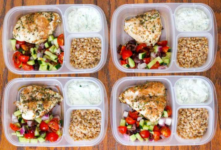 healthy greek chicken meal prep bowls