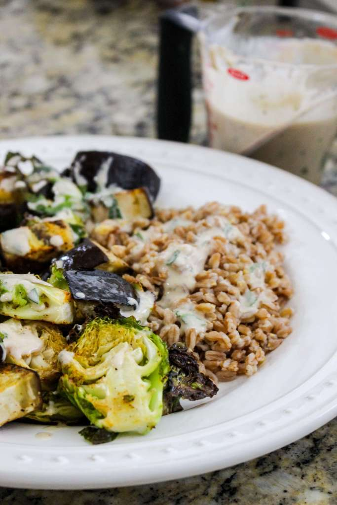Vegan Roasted Summer Veggies with Farro and Lemony Tahini Herb Sauce