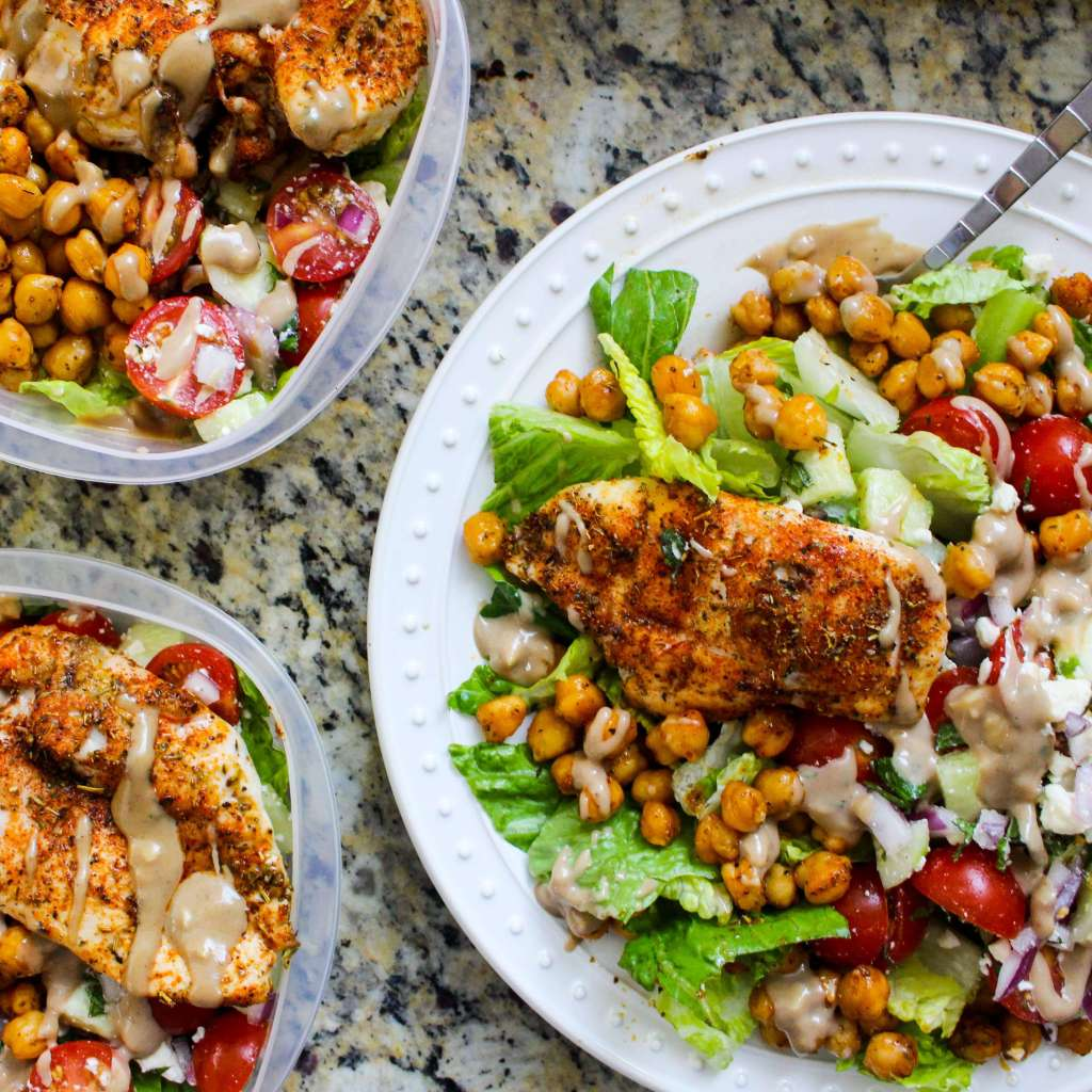 Greek Chicken and Chickpea Chopped Salad with Balsamic Tahini Dressing