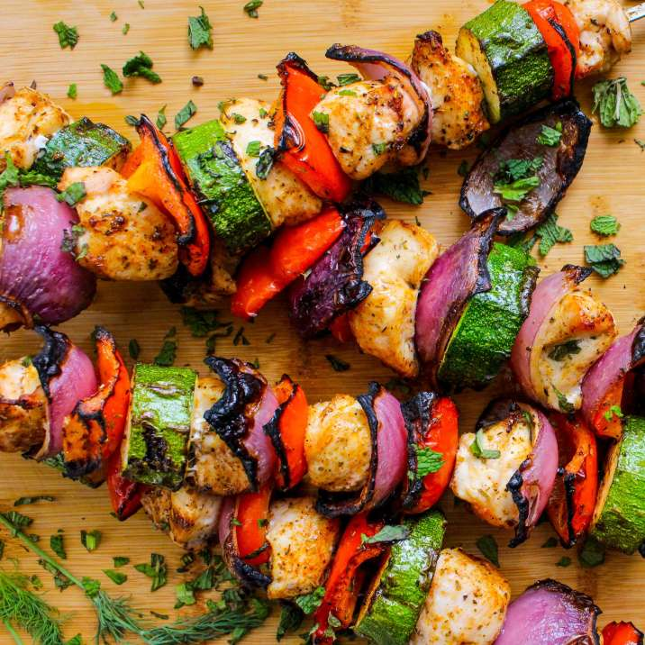 Greek Chicken Kabobs with Homemade Tzatziki