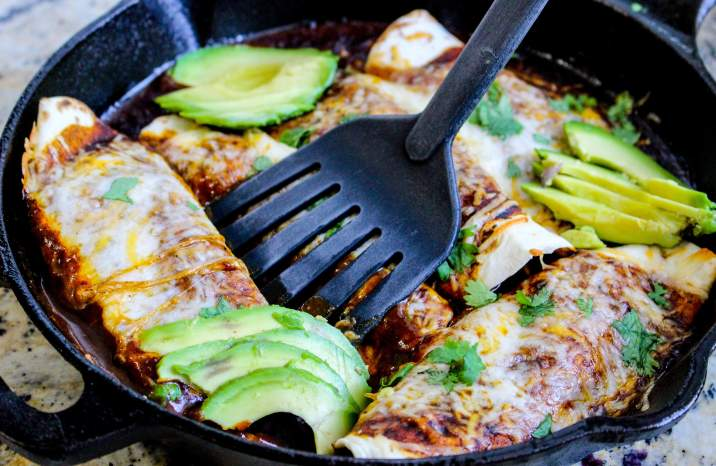 Skillet Chicken Enchiladas for Two
