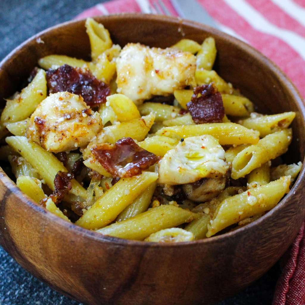 Chicken Bacon Pasta with Caramelized Onions