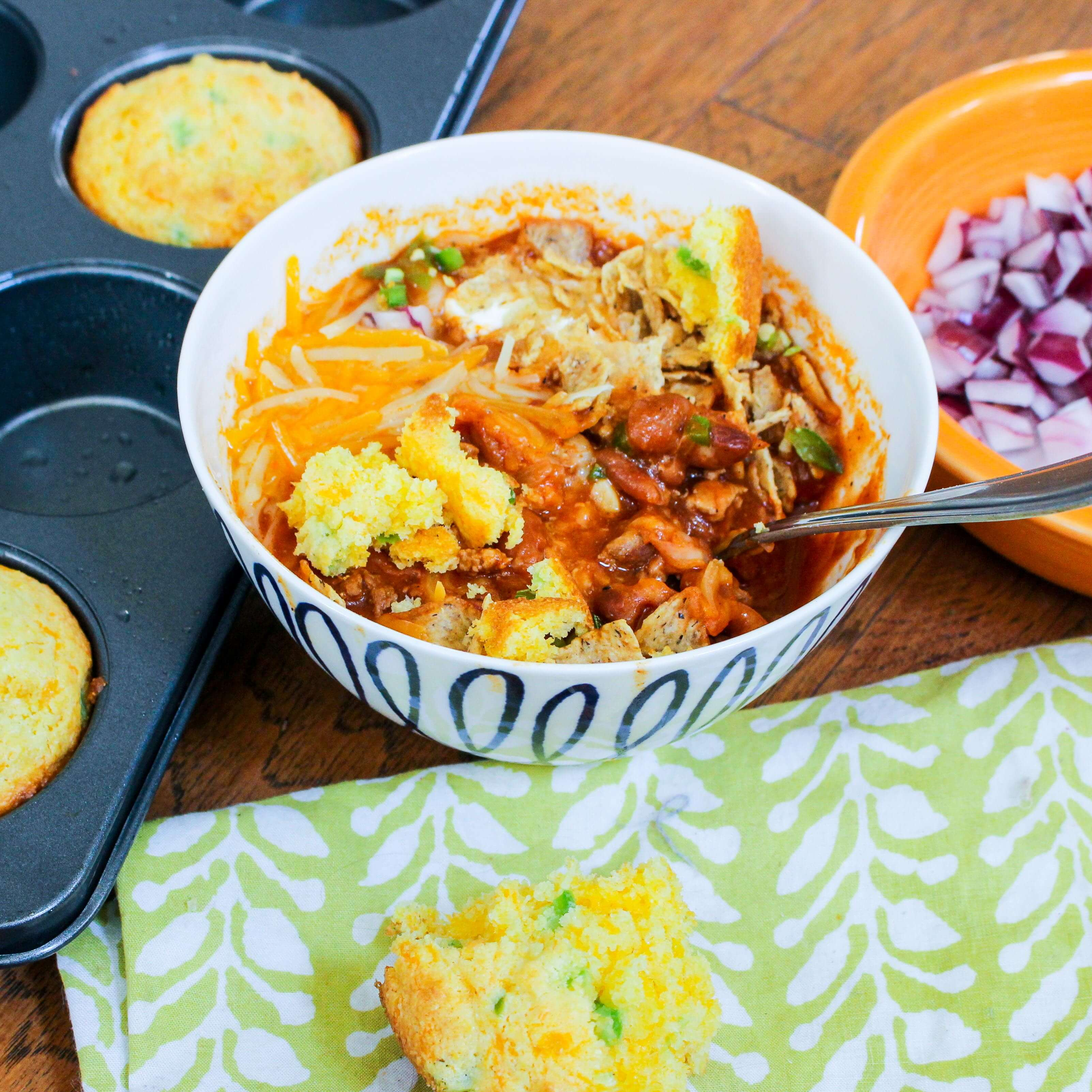 Beer Chili with Jalapeño Cheddar Cornbread Muffins