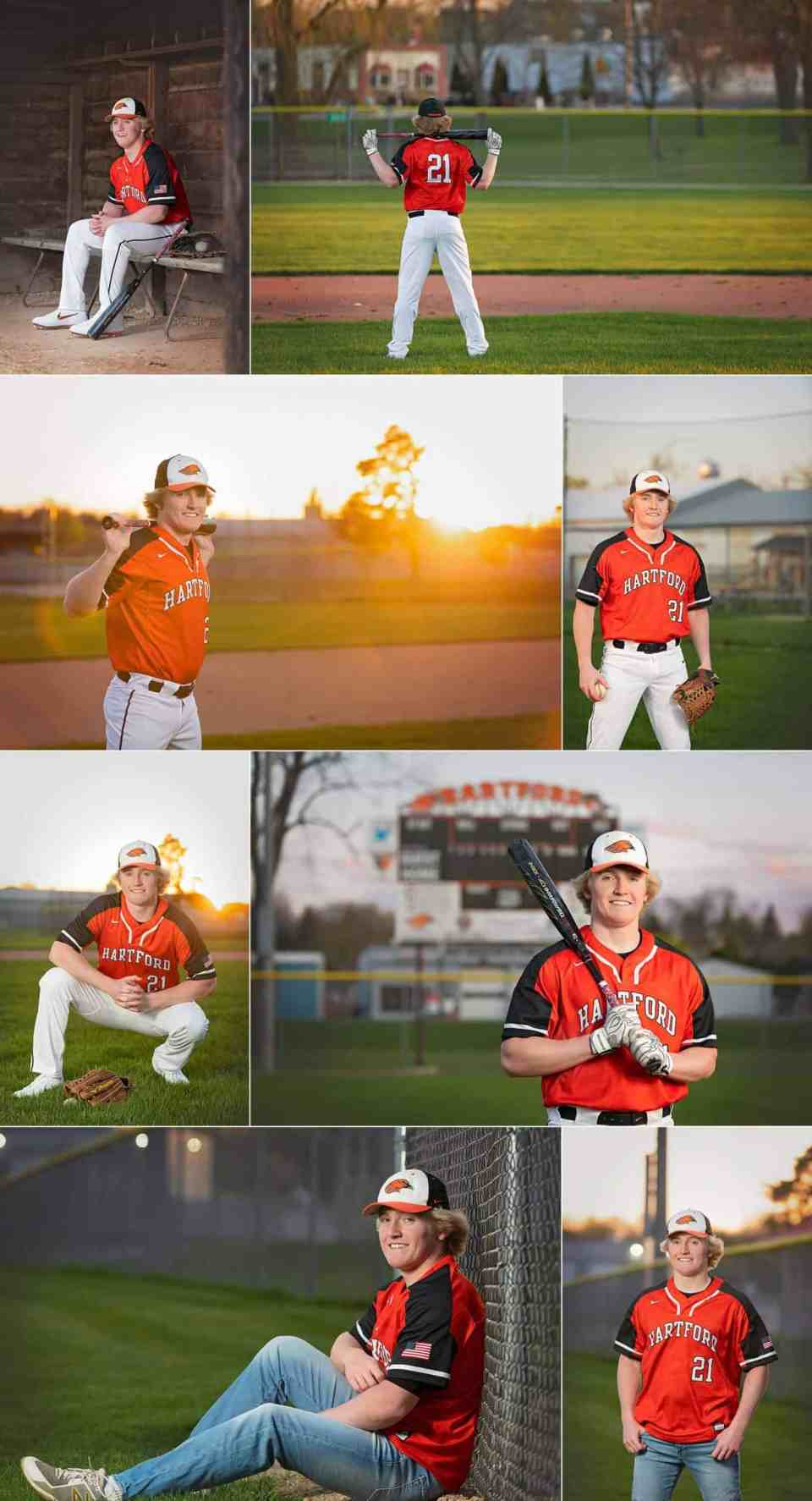 Athletic Senior Pictures in at Baseball Field in Hartford WI