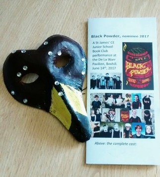 A beautiful falcon mask and programme for the Black Powder drama performance by pupils from St.James' Junior School