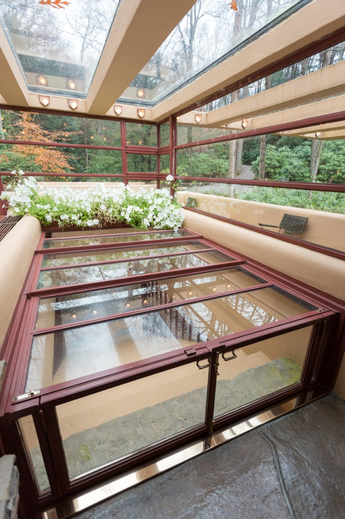 Skylights over stairs leading to stream