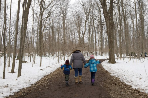 Jody and kids following forest trail
