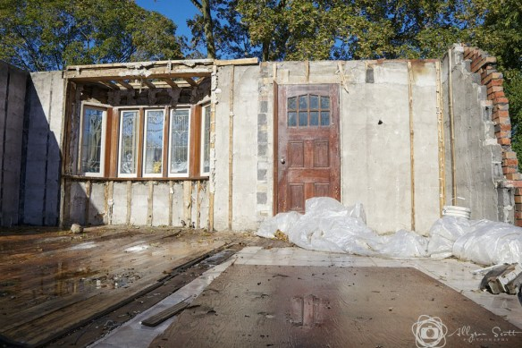 Partially demolished bungalow