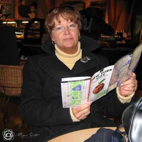 Mom reading NYC map