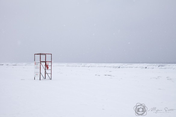 Lifeguard tower at frozen beach, Toronto