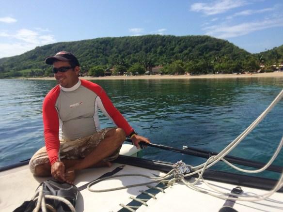 Pedro sailing the catamaran, Jibacoa