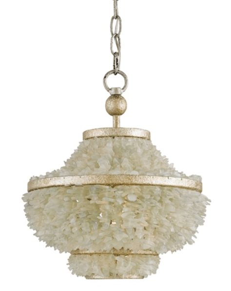 Beautiful Currey & Company sea glass chandelier