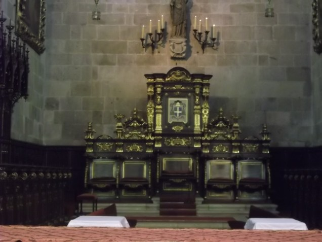 The bishop's cathedra in the sanctuary