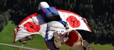 Alastair Macartney flies his wingsuit in Switzerland.