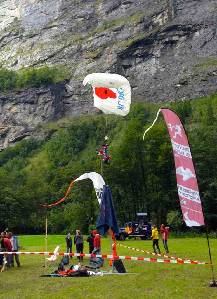 Alastair Macartney sets up to land his Poppy canopy at the final event of the ProBASE World Cup competition season in Stechelberg, Switzerland.