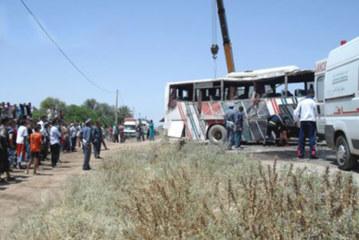 جرح 39 شخصا في حادث انقلاب حافلة لنقل الركاب بوجدة