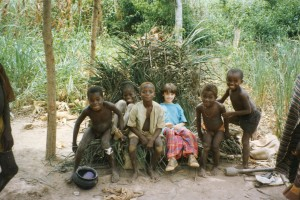 Nathaniel & Friends (Meda & 4 Others) Sit on Palm Leaves, 7-2X-93