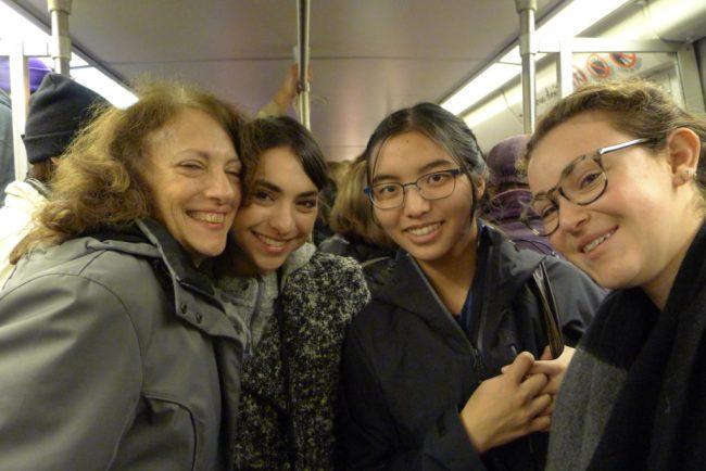 A, H, Mina, Charlotte on Subway