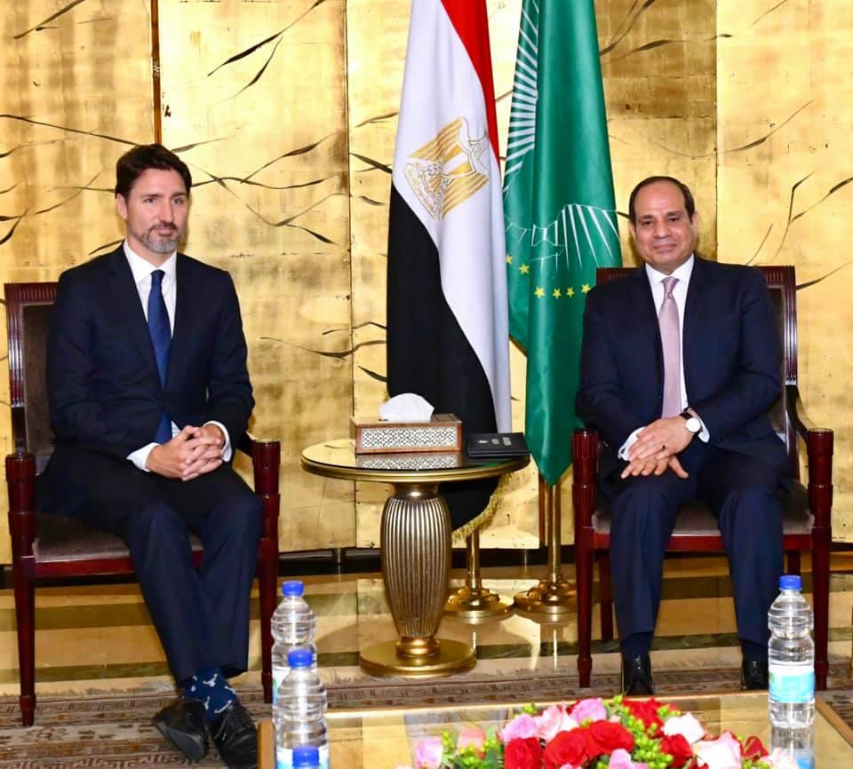 الرئيس عبدالفتاح السيسي مساء اليوم مع جاستن ترودو رئيس وزراء كندا