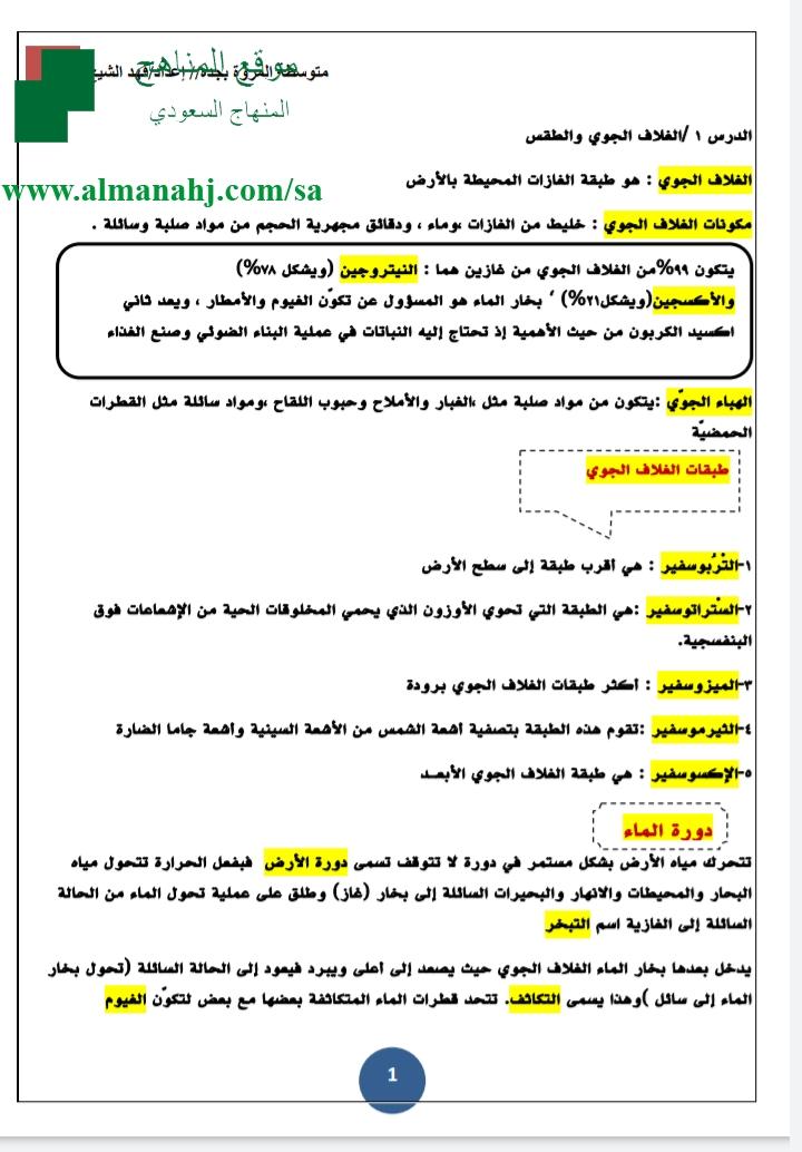 أفضل ملخص علوم الصف الأول المتوسط علوم الفصل الثاني المناهج السعودية