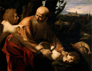 """Sacrifício de Isaque"" por Caravaggio, 1603"
