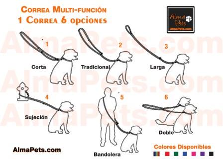 Correa multifuncion para perros 6 posiciones o usos en 1 correa