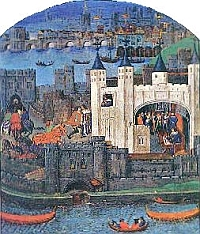 "A 15th-century representation of the Tower of London. Shown is the White Tower, begun by William the Conquerer in 1078. The White Tower still stands, but it is now part of a large complex of buildings that comprise ""The Tower"""