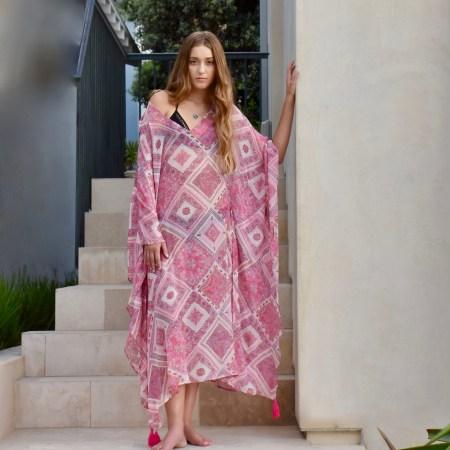 Pink Silk Chiffon Kaftan