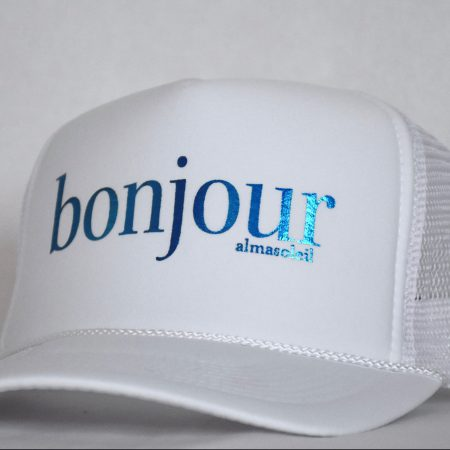 BONJOUR Metallic Blue on White hat