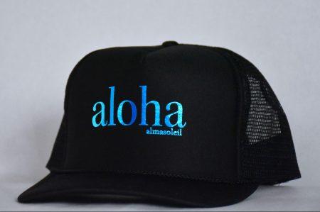 ALOHA Metallic Blue on Black hat