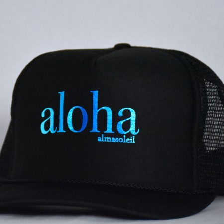 ALOHA Metallic Blue on Black hat