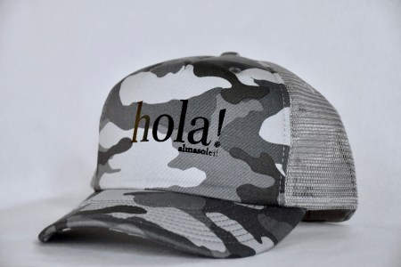 HOLA! Black Metallic on Gray Camo hat