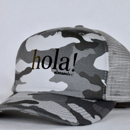 HOLA! Black Metallic on Gray Camo hat