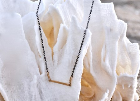 Gold Bar with Oxidized Sterling Chain
