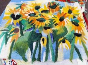 подсолнухи, маки, поле, цветение, маковое поле, войлок, валяние, купить войлок, войлок Алматы, картина, войлочное панно