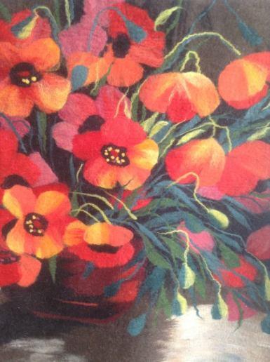 маки, картина с маками, маковое поле, маки цветут, натуральные материалы, войлок, шерсть в Алматы, купить войлок, купить картину, купить подарок, панно с цветами