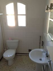 Bathroom, with space for the washing machine in the corner