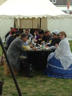 Lunch time at the Civil War re-enactors camp - note the bottles of Jack Daniels on the table