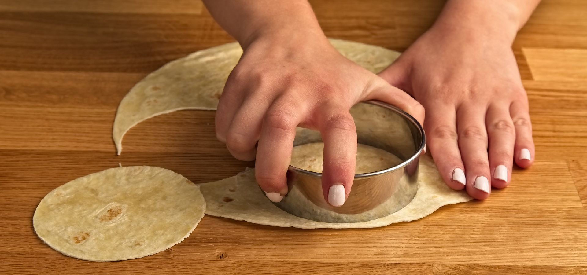 Cut mini rounds from tortillas
